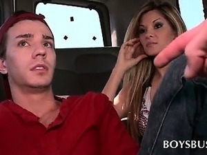 Blonde chick tricking cute teen dude into gay sex in bus