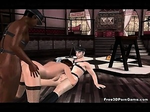 Sexy 3D bruentte getting an interracial double teaming