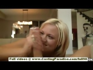 Jasmine Jolie amateur blonde cheerleader with big ass gets naked and blowjobs