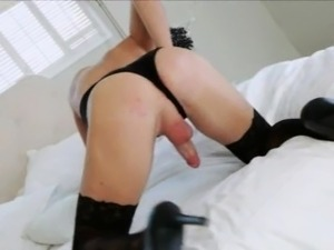 Skinny tranny Sienna Grace in stockings anal nailed