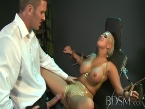 BDSM XXX Master straps big tits submissive girl to a gyno chair free