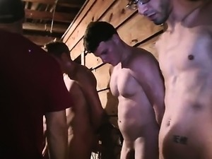 Twink amateurs in group give bjs for their initiations