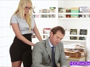 Horny babe secretary Vanessa Cage give a warm blowjob t