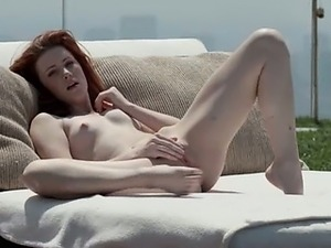 delicate redhead opening vagina outside