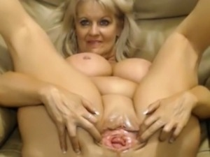 Busty old slut with big pussy teasing