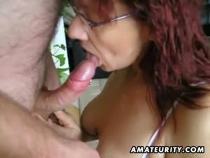 Hot amateur mature slut sucks and fucks with huge facial free
