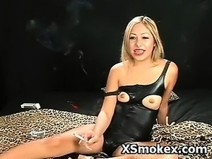 Kinky Busty Woman Smoking Hot Fetish