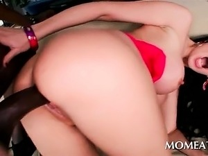 Brunette busty tramp gets pussy filled with monster dick