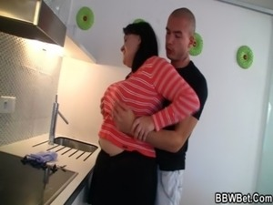 Fatty with huge melons enjoys his cock free