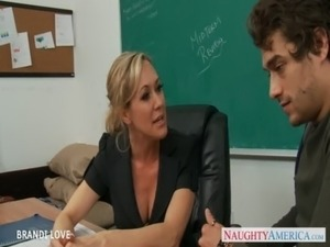 Blonde teacher Brandi Love riding cock in classroom free