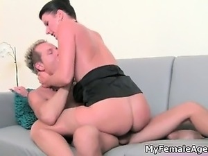 Sexy blonde guy fucks busty interviwer  part3