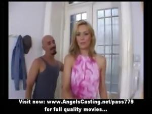 Amateur lovely blonde bride sweet talking and flashing panties