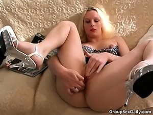 Blonde hoe is so horny on that sofa part5