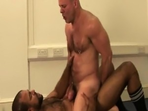 Ebony muscled studs drills white guy