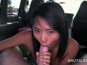 Sweet Asian babe sucking long cock and taking it up in her wet slit