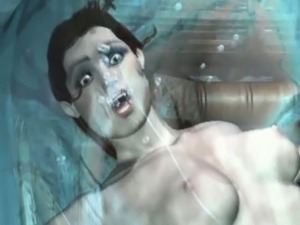 3D animated chained and fucked by water monster