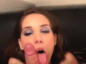 Euro babe searches for jizz with mouth