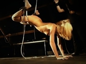 Blonde slave slut whipped in chains and fucked in mouth