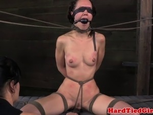 Lezdom sub with wooden pegs whipped by rough dyke domina