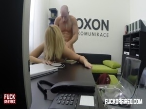 Horny blonde secretary fucks her boss in the office free