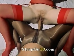 Unique lesbians in pantyhose using strap
