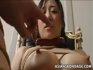 Extreme bondage and dildo fuck for an Asian babe free