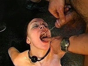 Group pissing on lusty luscious girl
