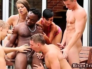 Bi curious cock sucking orgy
