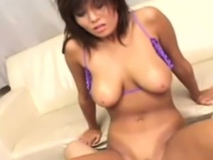 Asian milf beauty eagerly riding cock