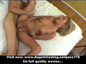 Gorgeous amateur blonde does blowjob and fucks on bed with big guy