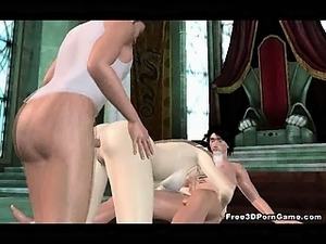 Foxy 3D babe sucks cock while getting fucked hard