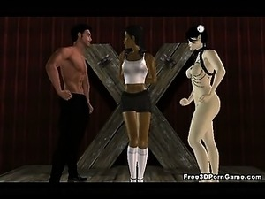 Tied up 3D cartoon ebony babe getting fucked hard