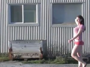 Girls Out West - Busty brunette masturbating outdoors