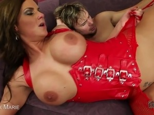 Hot brunette Phoenix Marie gets fucked hard in leather and stockings and...