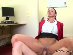 Two horny MILF secretaries working two clients stiff cocks overtime