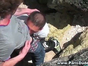 Gay outdoor blowjob french guys