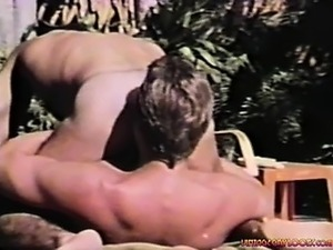 Outdoor Vintage Action. Hot hairy studs pounding each other