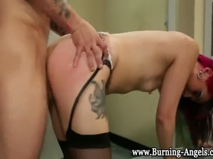 Emo goth punk fetish slut fucked hard ending with cum facial