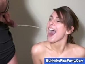 Pissing bukkake slut golden shower free