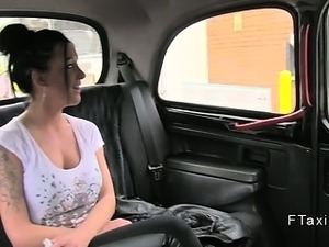 Busty amateur anal fucked in fake taxi pov
