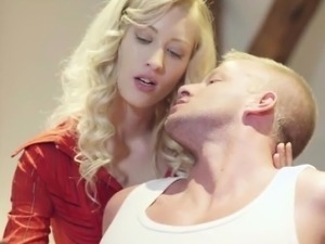 Blonde step mom finds lovers fucking