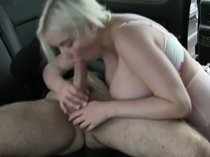 Huge tits British blonde anal banged in taxi