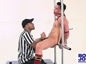 Leo Forte edges a bound up Tristan Phoenix in this hot scene