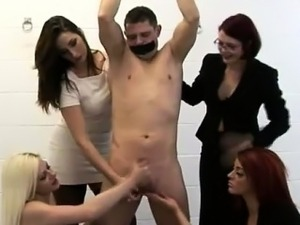 Four femdom British ladies give tied CFNM guy a handjob