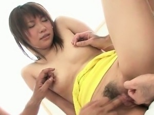 Little amateur asian gets her holes wide spread