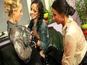 Threesome of sexy bukkake babes getting soaked free