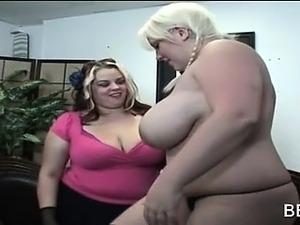 Chesty BBW lesbians touching hot bodies