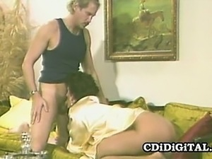 Horny babe Sharon Mitchell submits pussy to her man and get