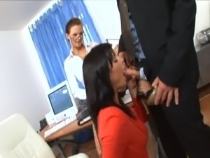 Secretaries at the office have a threesome free
