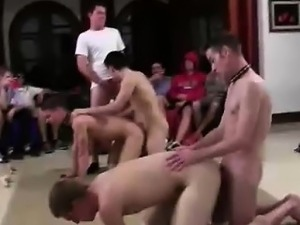 Group of guys fuck ass in gay college fraternity